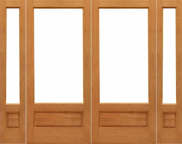 Pre hung 1 lite p b french brazilian mahogany wood ig for Double hung french patio doors