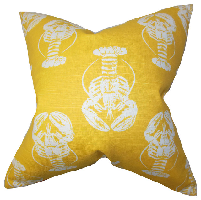 Yellow Lobster Pillow - Beach Style - Decorative Pillows - by Nantucket Coast