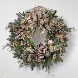 Vintage glamour pre decorated christmas wreath Traditional outdoor christmas decorations