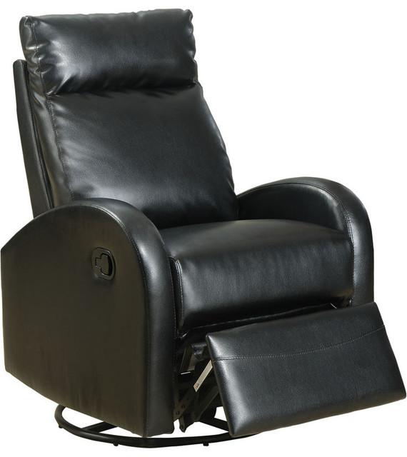 monarch specialties black bonded leather swivel rocker