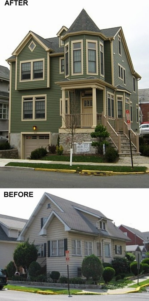 cape cod home transformed into victorianesque style home