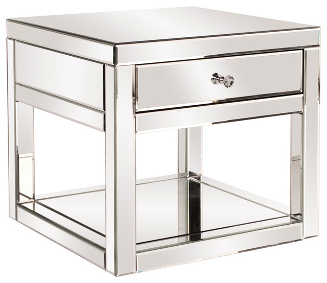 Mirrored Side Table With Drawer Contemporary Side