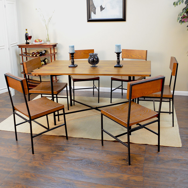 Large Lakeland Metal And Wood Dining Table Contemporary Dining Tables By