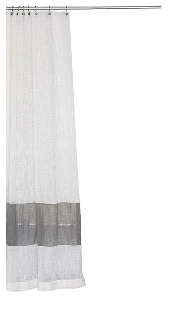 Cream Shower Curtain With Gray Stripe Extra Long Sizes 72x75 Transitional