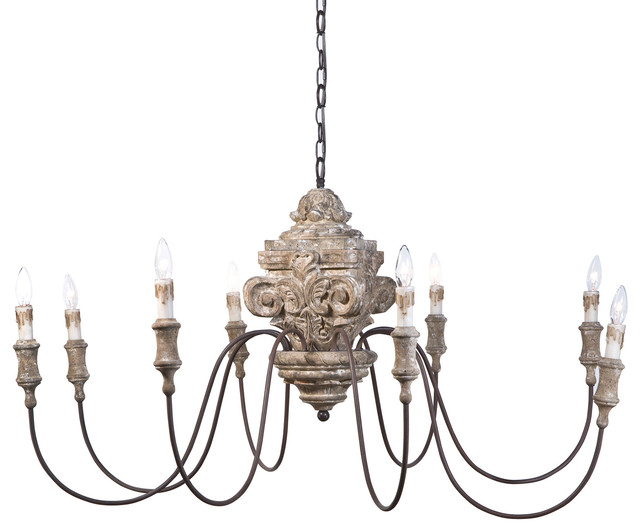 Ravel french country carved wood 8 light chandelier for French country kitchen chandelier