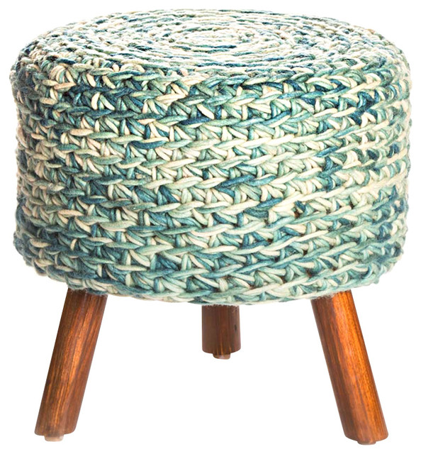 Wool Top Stool Turquoise Farmhouse Accent And Garden