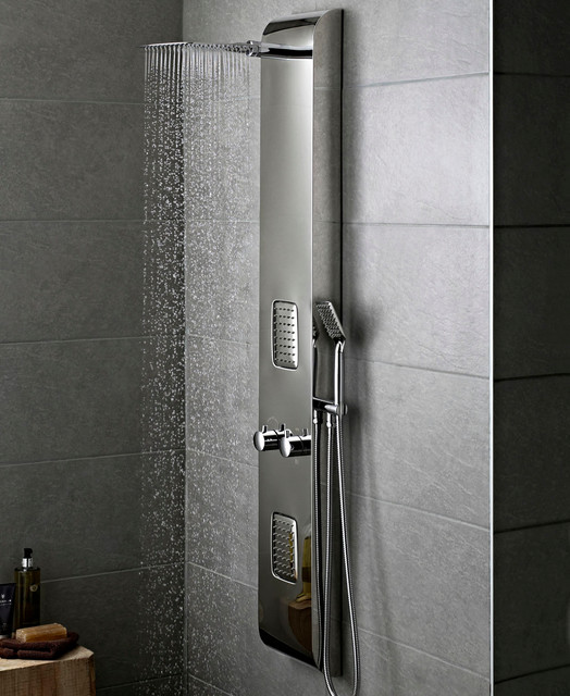 Chrome thermostatic shower panel tower system body jets for Shower tower with body jets