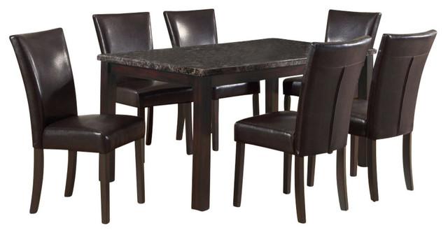 Monarch Specialties 7 Piece 60 X 36 Dining Room Set In Dark Espresso Transi