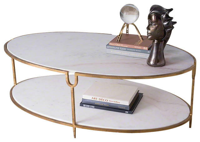 Global Views Iron And Stone Oval Coffee Table Transitional Coffee Tables By Seldens Furniture