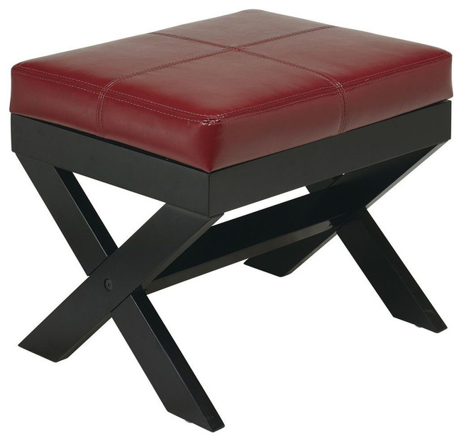 X Leg Square Bench In Crimson Red Eco Leather Modern
