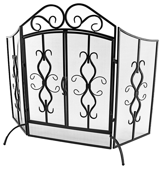 Jameson Metal Fire Screen Traditional Fireplace Screens By Aspire Home Accents Inc
