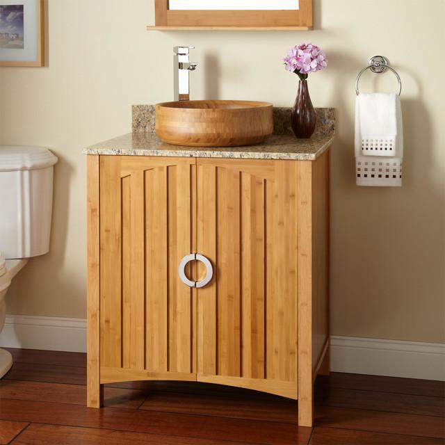 30 trang bamboo vessel sink vanity modern bathroom for Modern bamboo bathroom vanity