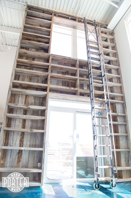 Bookcase - Reclaimed Tobacco Barn Wood with Rolling Ladder ...