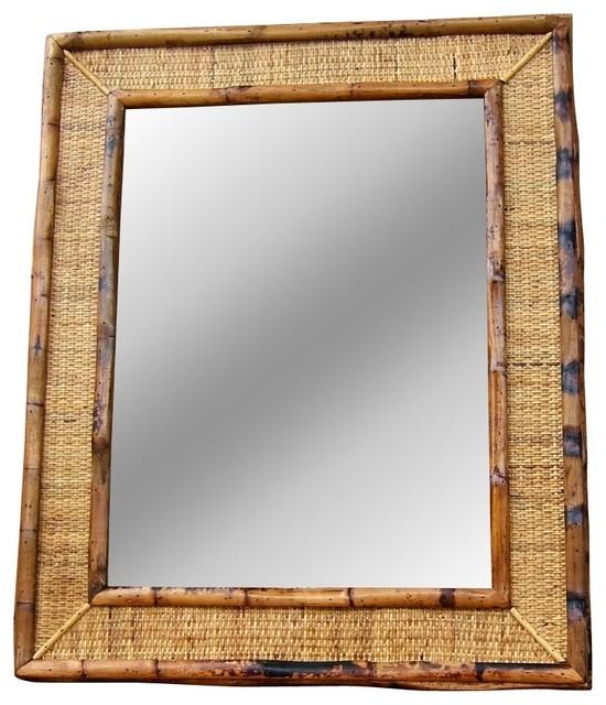 Woven rattan mirror tropical wall mirrors for Tropical bathroom mirrors