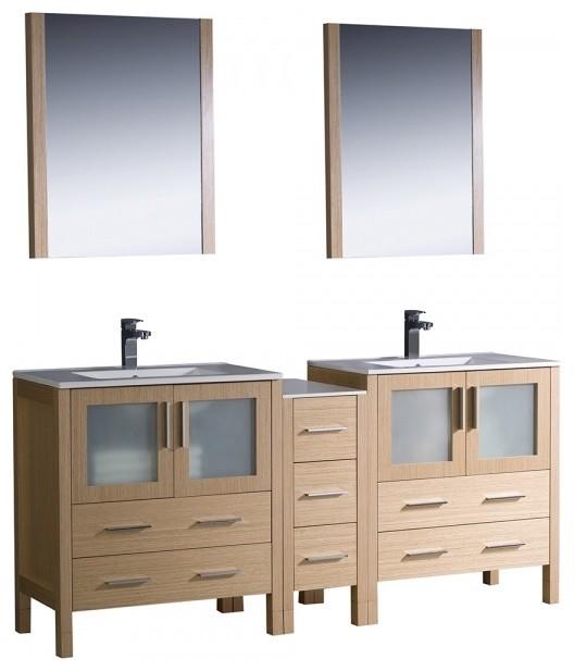 Fresca torino 72 light oak double sink bathroom vanity contemporary bathroom vanity units - Light oak bathroom vanity units ...