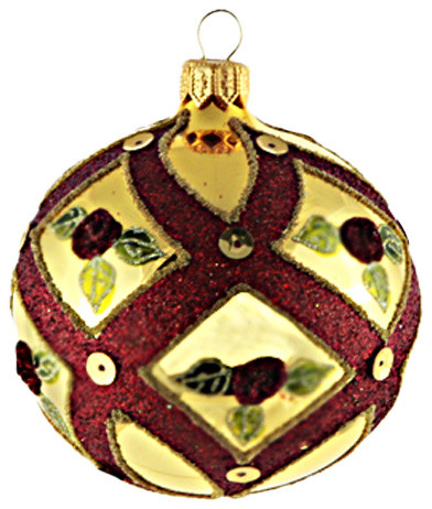 Gold ball ornament with rose buds small contemporary for Small gold christmas ornaments
