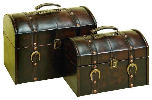 Wood and leather box set of 2 traditional decorative - Decorative trunks and boxes ...