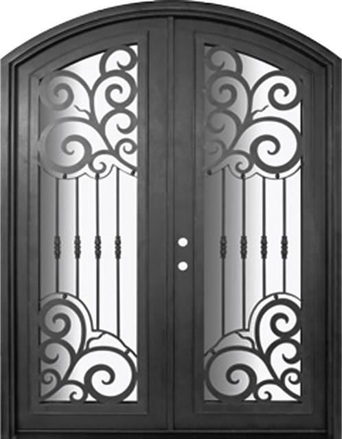 Barcelona 72x96 arch top forged iron double door 14 gauge for 14 gauge steel door