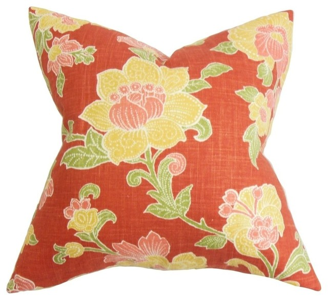 Traditional Accent Pillows : Duscha Floral Pillow Red Yellow 20
