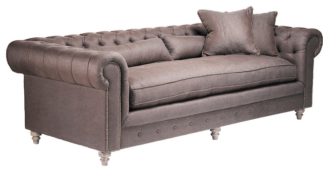 Bolstered Button Tufted Sofa Traditional Sofas By