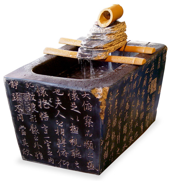 Zen serenity water fountain asian indoor fountains - Japanese indoor water fountain ...