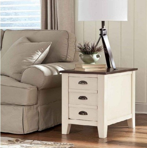 Whitesburg Chairside End Table White Contemporary Home