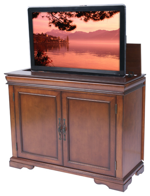 Tremont tv lift cabinet for flat screen tv 39 s up to 46 for Tv lift consoles for flat screens