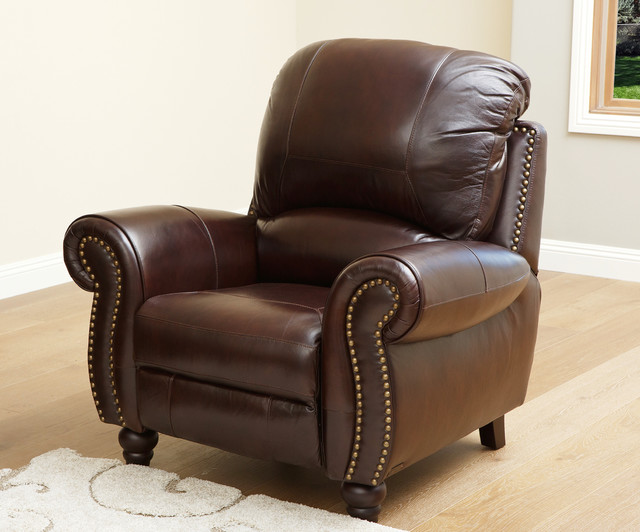 Abbyson living madison premium grade leather pushback for Abbyson living sedona leather chaise recliner