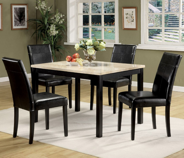Portland 5Pc Dining Set in White Faux Marble and Black  : modern dining sets from houzz.com size 640 x 552 jpeg 108kB