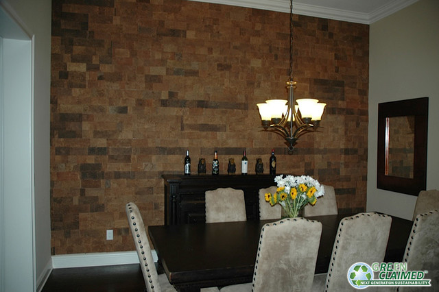 cork wall tiles in the dining room