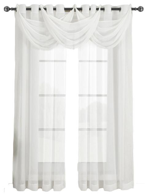 "... Sheer Curtain Panel, Single, White, 24 X 24"" Valance modern-curtains"