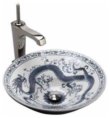 Imperial Blue Design Vessel Sink Asian Bathroom Sinks