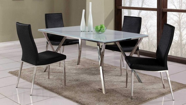 Exclusive Rectangular Glass Top Leather Dinner Table And Chairs Contemporar