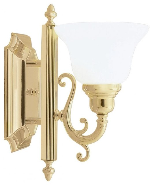 Transitional Bathroom Wall Sconces : Polished Brass Bathroom Sconce - Transitional - Bathroom Vanity Lighting - by We Got Lites