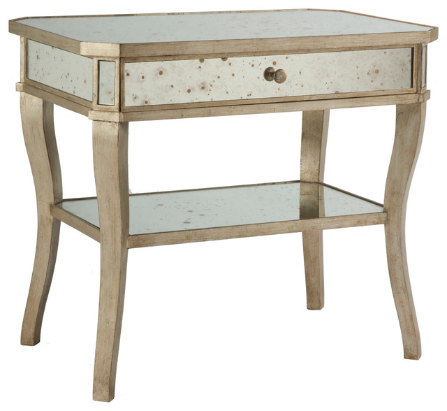 Antique Mirror Aged Pewter Side Bedside End Table - Transitional - Nightstands And Bedside ...