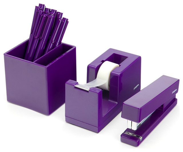 Purple Starter Set Modern Desk Accessories By Poppin