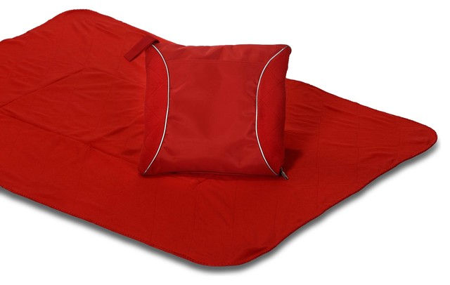 Fleece Blanket Cushion Red Eclectic Outdoor Cushions