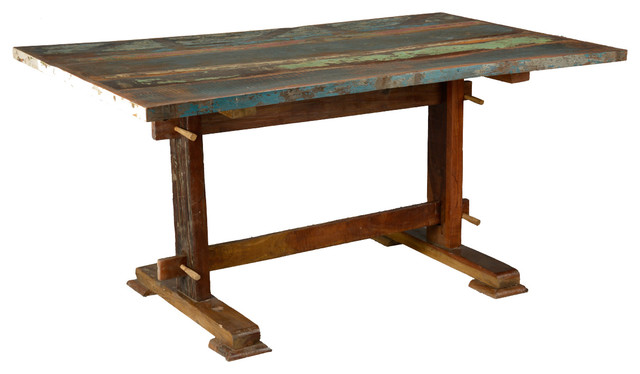 Trestle rustic reclaimed wood dining table pedestal for Reclaimed wood furniture san francisco