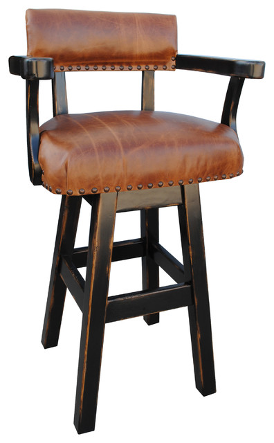 River Western Rustic Swivel Bar Stool Leather 24