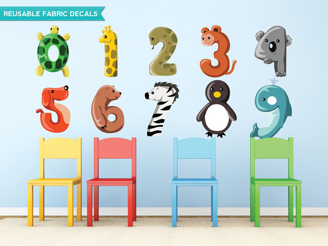 Animal Numbers Fabric Wall Decals, Set Includes 0 to 9, Size Large wall-