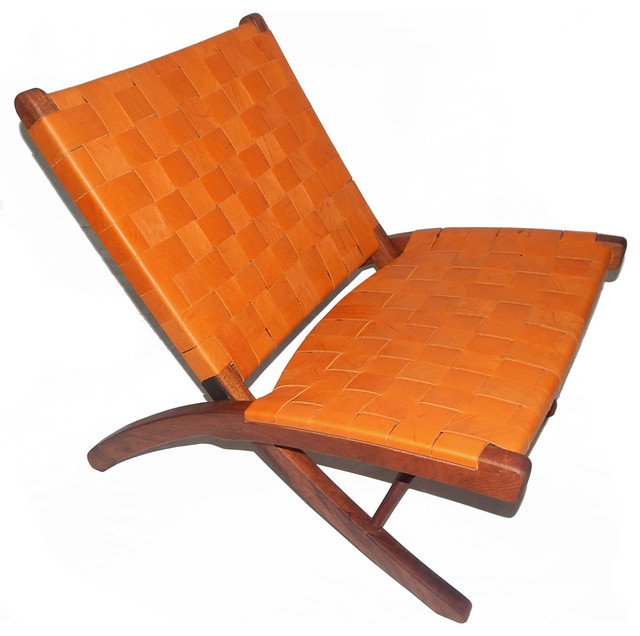 Leather Woven Folding Lounge Chair Orange Contemporary Armchairs And Acc