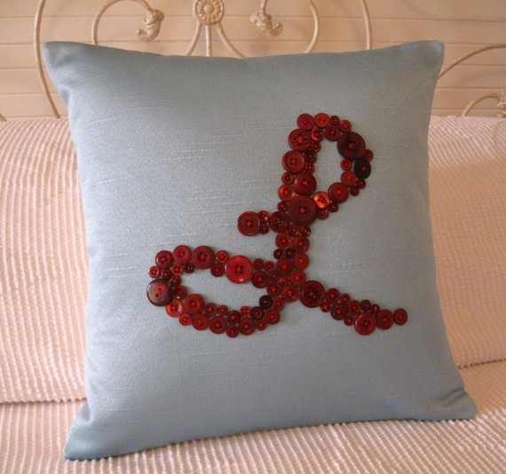 Modern Initial Pillow : Personalized Pillow with Red Button by Letter Perfect Designs - Modern - Decorative Pillows - by ...