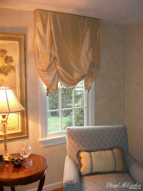 Gold Silk Roman Shades Curtains Boston By Cheryl