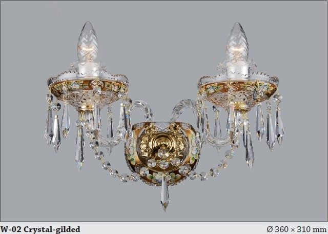Czech Crystal Wall Lights : Bohemian Czech Crystal Wall sconce with applied Enamel floral decoration - Modern - Chandeliers ...