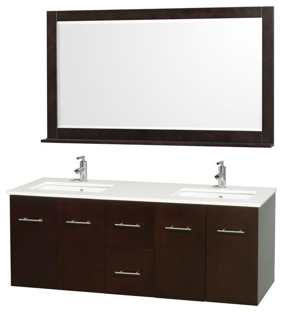 60 Double Bathroom Vanity With Man Made Stone Top Undermount Sinks Mirror Modern Bathroom