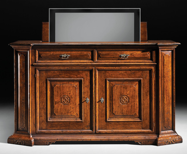 solid walnut sideboard with remote tv lift rustic buffets and sideboards other metro by. Black Bedroom Furniture Sets. Home Design Ideas