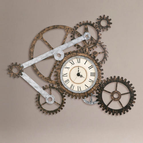 Wall Clock Artwork : Gear wall art with clock eclectic clocks by cost