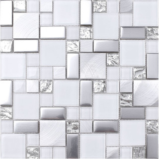 White Gray Metal Glass Mosaic Kitchen Backsplash Tile 12