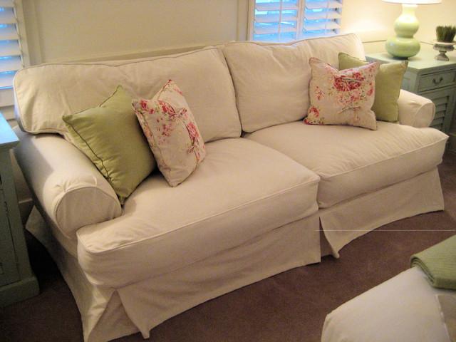 Shabby Chic Cottage Slipcovered Sofa