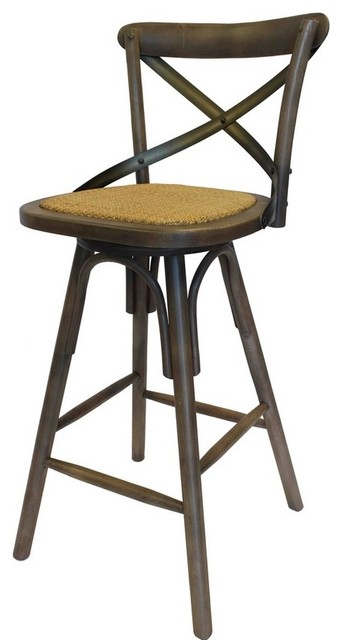 Vintage Style Crossback Bar Stool Farmhouse Bar Stools